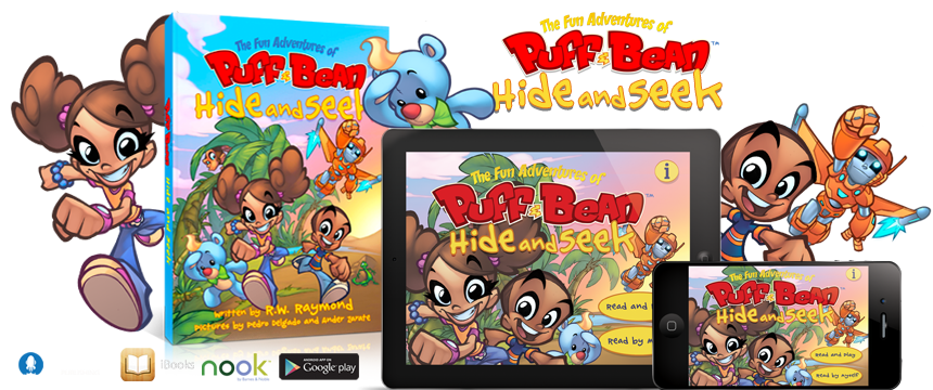 puff and bean, puff, bean, toys, books, kids, cartoons, ipad, iphone, apps, download, robot, bear, nook, ibooks, google play, hide and seek